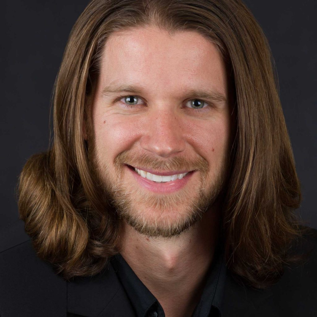 Headshot of a Male Actor with Long Hair
