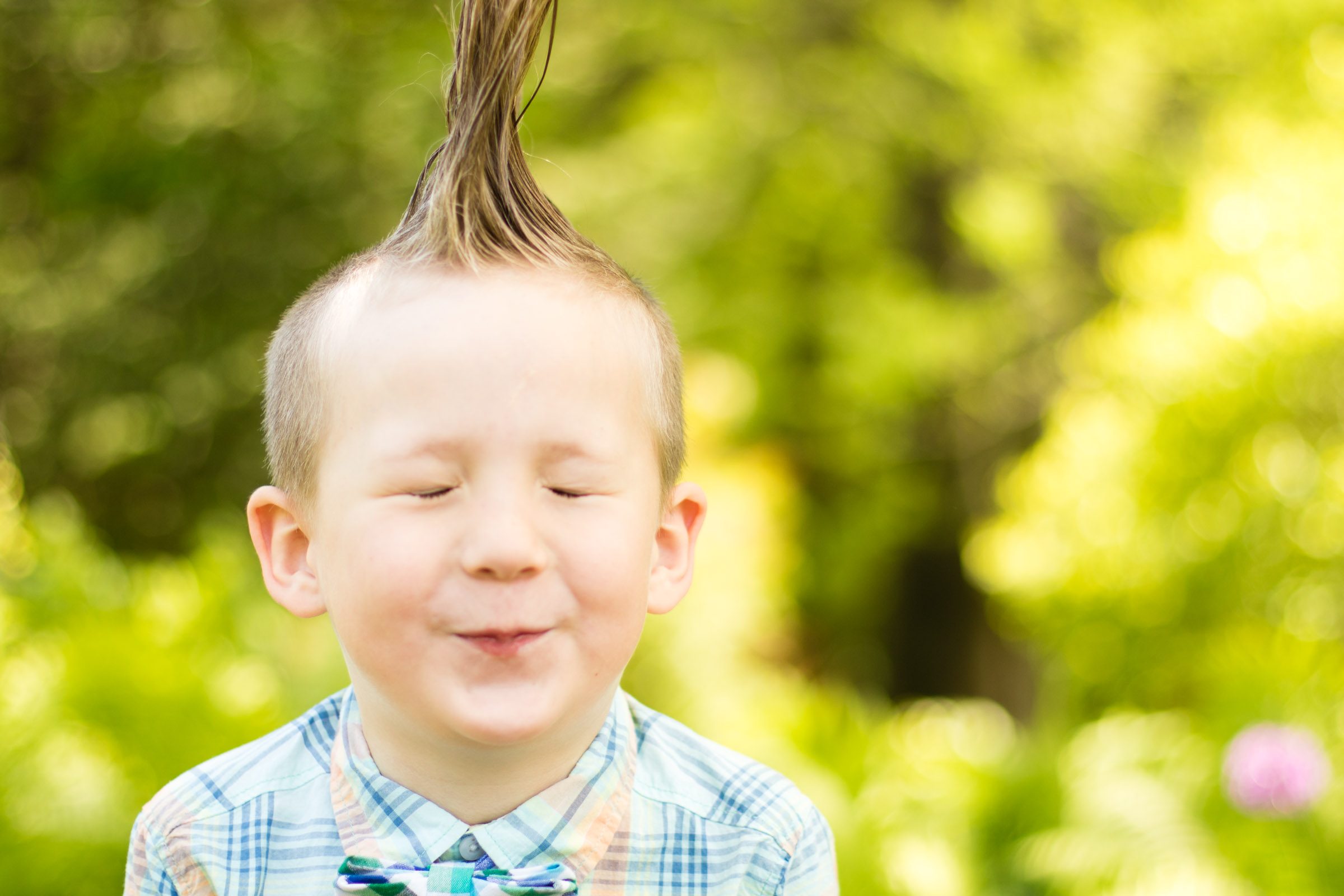 Portrait of a Boy with a Mohawk Waiting for a Kiss